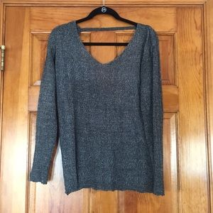Grey knit sweater with open back detail 🌟